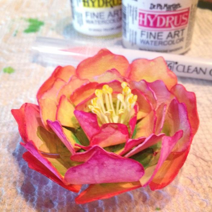 Watercolor Paper Flower: Pink Rose