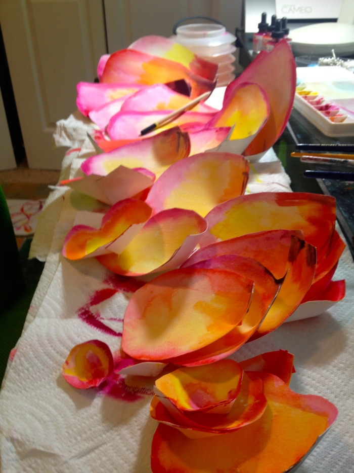 Large rose petals: Watercolor Paper Flowers