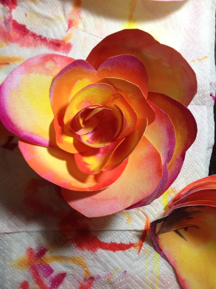 Watercolor Paper Flower: salad plate size and growing